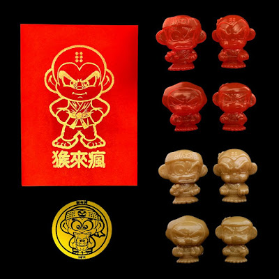 Year of the Pig Hyperactive Monkey and Friends Sofubi Mini Figure Lucky Envelopes by Umi Toys Hawai'i