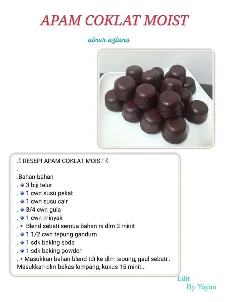 resepi apam coklat moist