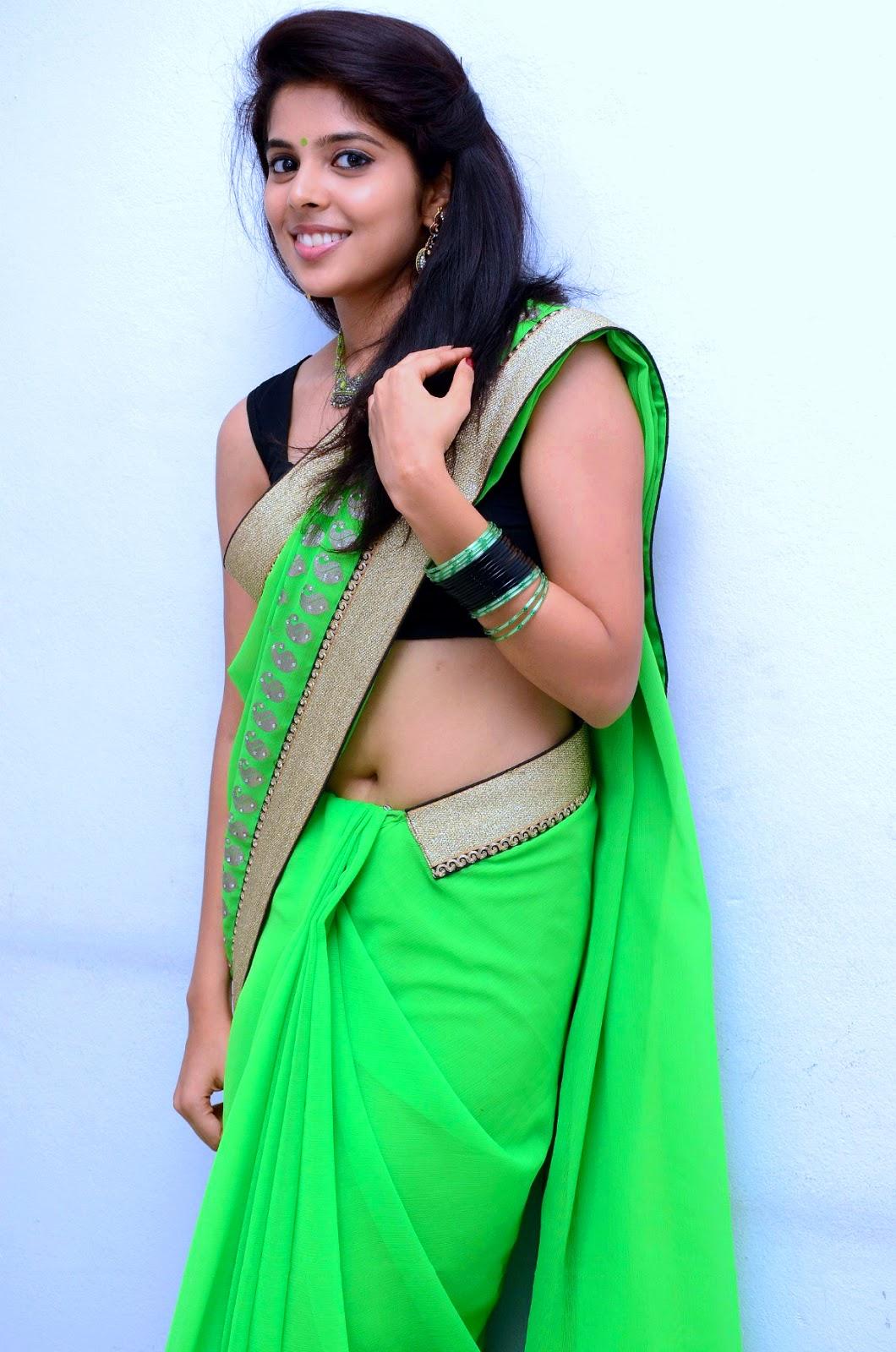 Beauty Galore Hd  Shravya Hot Navel In Green Saree-3685