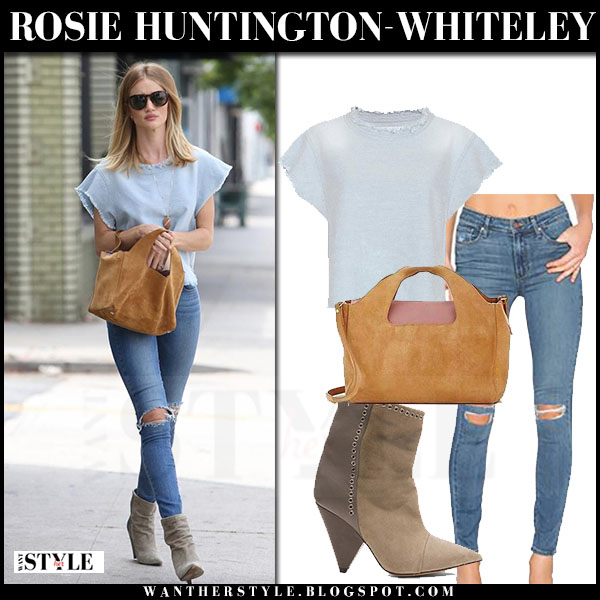 Rosie Huntington-Whiteley in light blue bro florie top, skinny jeans, ankle boots with brown suede the row bag what she wore