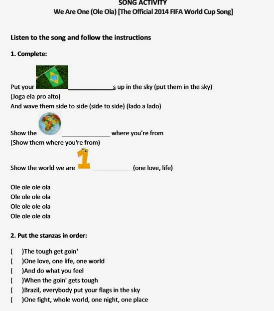 Song Activity We Are One The Official 2014 Fifa World Cup Song
