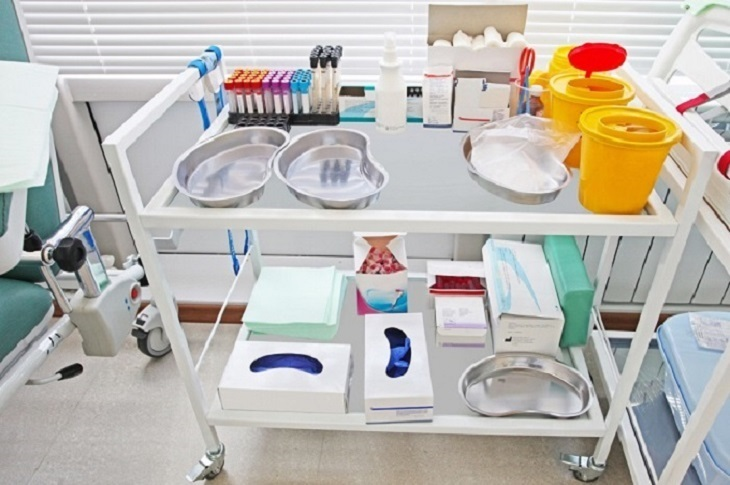 stainless steel hospital trolley
