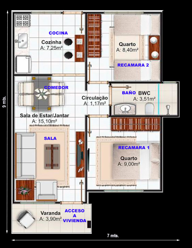 Plano de casa en terreno de 7 x 10 metros proyectos de casas for Diseno de casa de 7 x 17