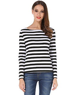 Black and white relax fit long sleeve boatneck top