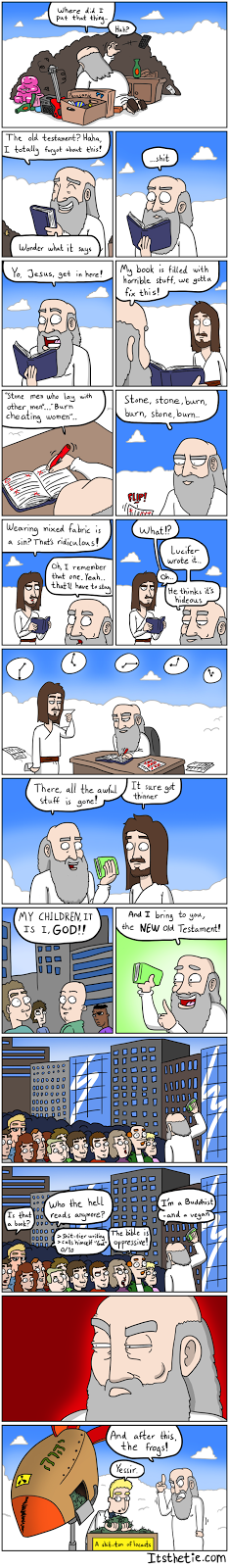 A comic about god rewriting the testaments