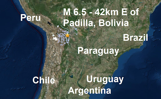 A magnitude 6.5 - 42km E of Padilla, Boliviastruck Bolivia is the fourth major quake of February and the 11th of 2017