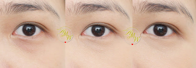 a before and after photo of using The Face Shop Dual Veil Concealer