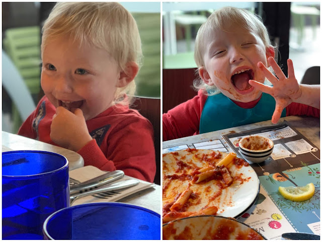 2 photos of a toddler in pizza express one before food and one after having penne bolognese