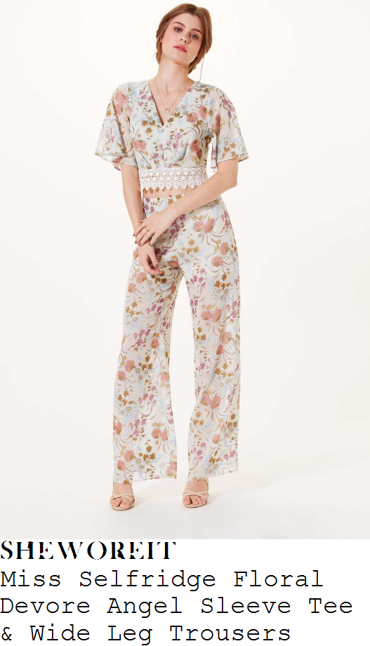 lydia-bright-miss-selfridge-pale-mint-green-cream-and-multicoloured-vintage-floral-print-angel-sleeve-v-neck-crochet-trim-detail-crop-top-and-matching-wide-leg-trousers