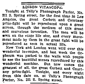 Los Angeles Theatres: Tally's Phonograph and Vitascope Parlors