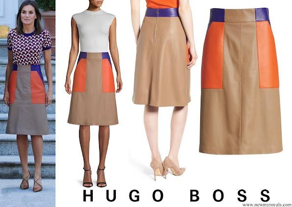 Queen Letizia wore Hugo Boss Seplea Colorblock Leather Skirt
