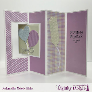 Divinity Designs Stamp/Die Duos: All God's Blessings, Custom Dies:  Birthday Balloons, Celebration Words, Lever Card, Lever Card Layers, Paper Collection:  Pastel