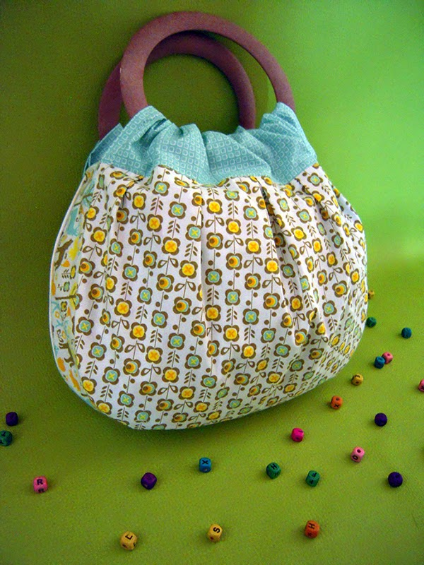 sac original anse en bois tissu kitsch fleurs