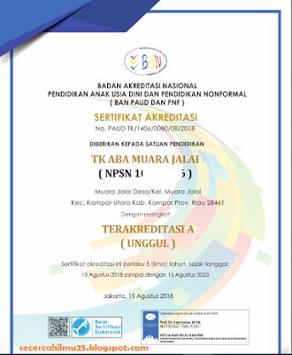 cara cetak sertifikat akreditasi PAUD dan PNF di tahun 2018