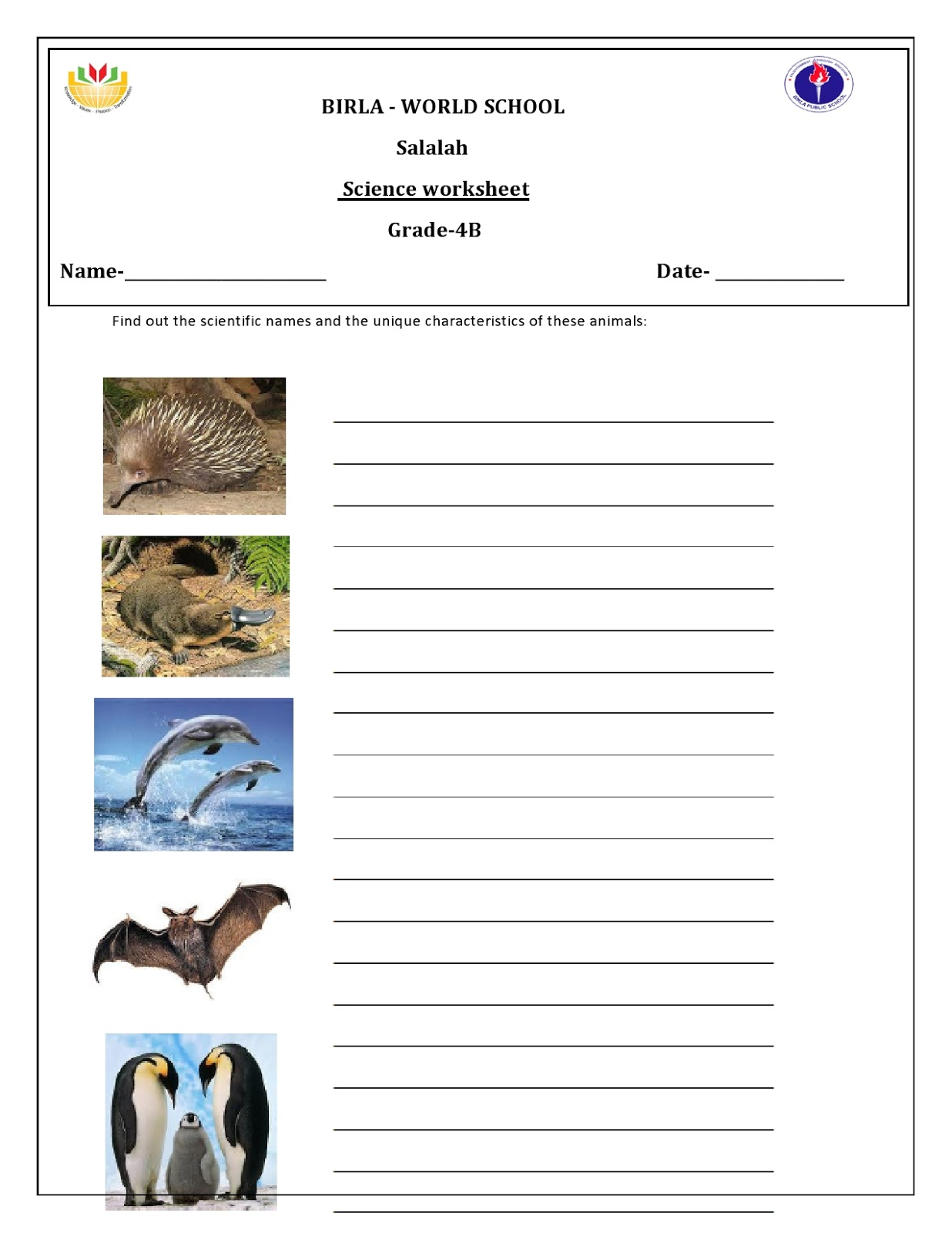 Birla World School Oman Homework For Grade 4 B On 01 09 16