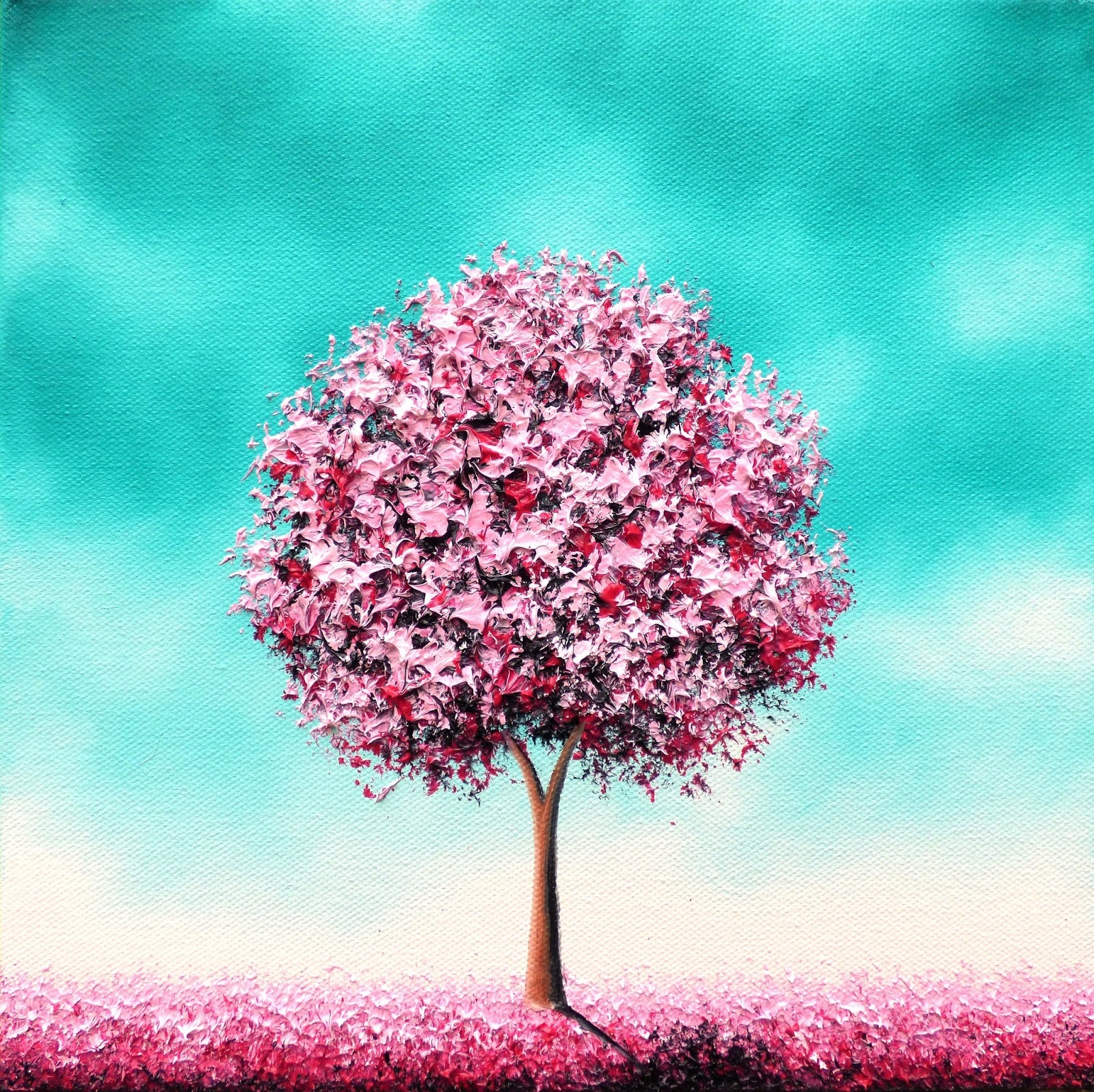 Pink Cherry Blossom Tree Painting Original Oil Whimsical Landscape Contemporary Textured Art 10x10 Beauty In The Bloom