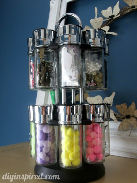 Use a spice rack to organize tiny craft supplies