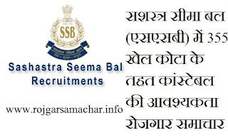 सशस्त्र सीमा बल (एसएसबी) में 355 खेल कोटा के तहत कांस्टेबल की आवश्यकता रोजगार समाचार