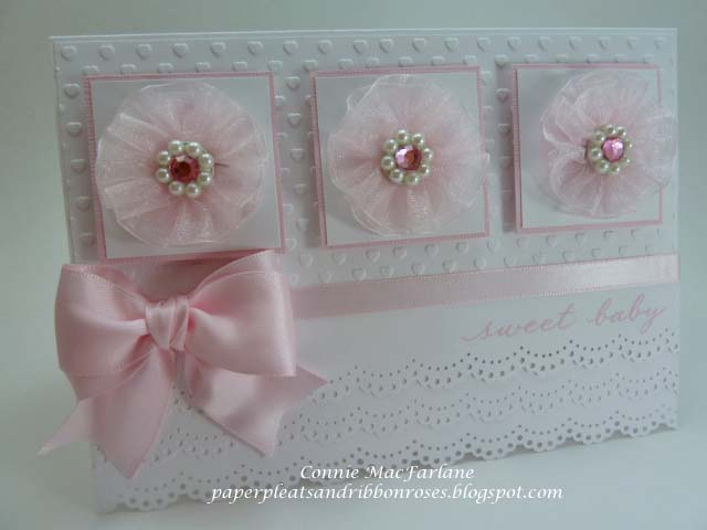 Paper Pleats and Ribbon Roses Baby Girl Card With Pink Organdy Flowers