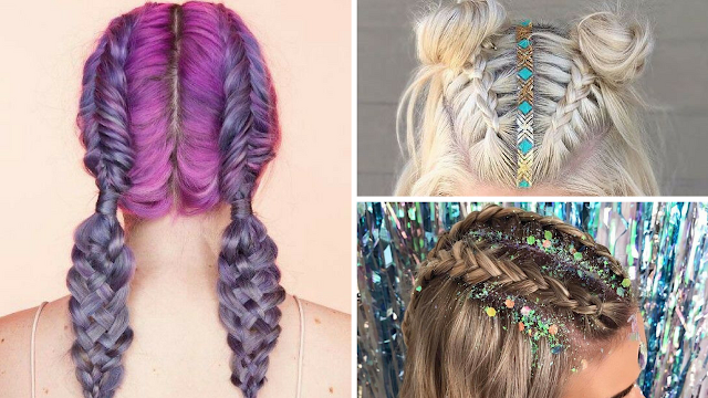Coachella Hair Vibe - Glitter Roots and Braids