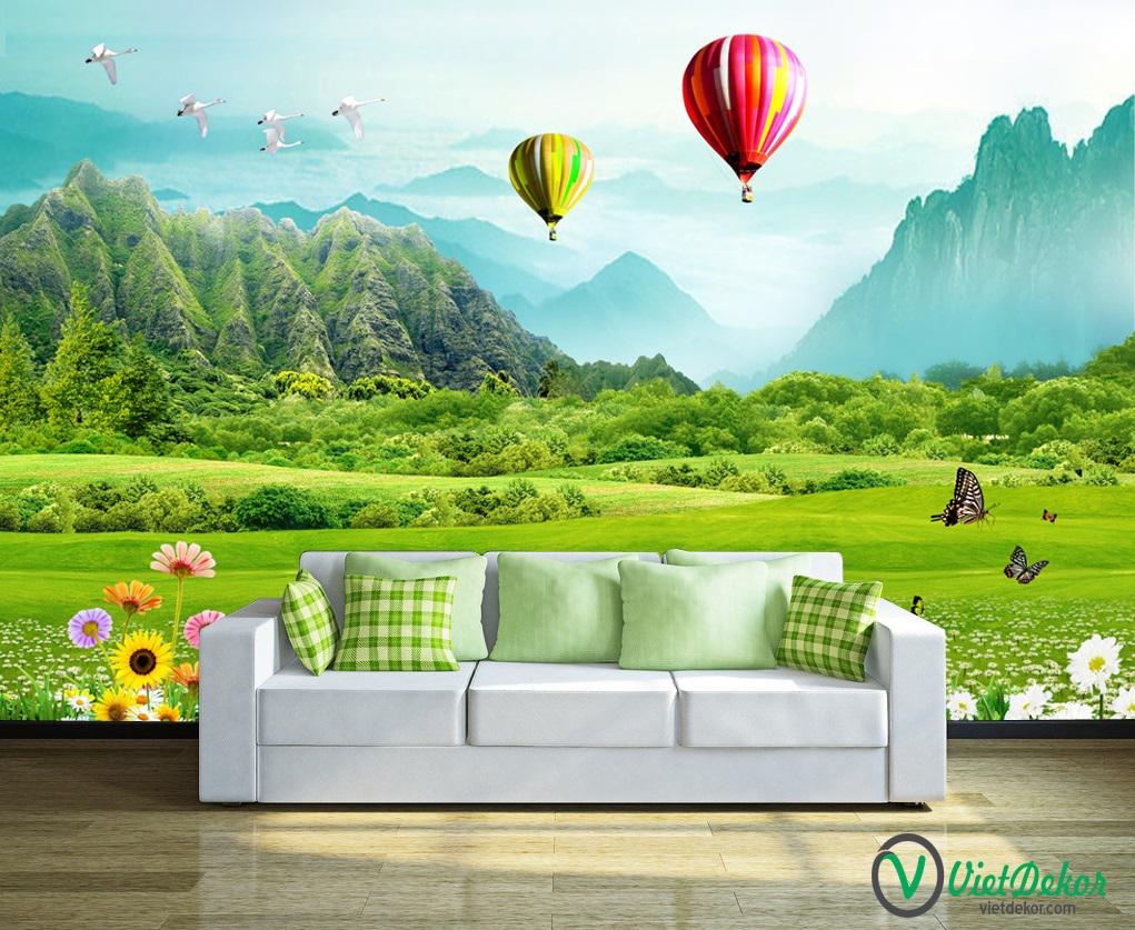 Tranh dán tường 3d phong cảnh thiên nhiên hoa cỏ