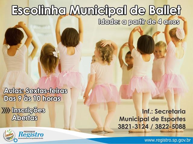 Escolinha Municipal de Ballet de Registro-SP está com as inscrições abertas
