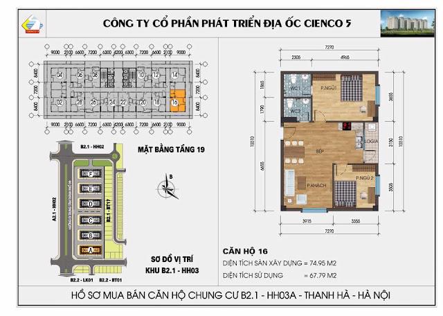 Mặt bằng thiết kế chung cư HH03A tòa B2.1 Thanh Hà Cienco 5