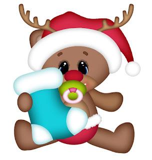 Clipart de Ositos Bebé Vestidos de Reno de Navidad.