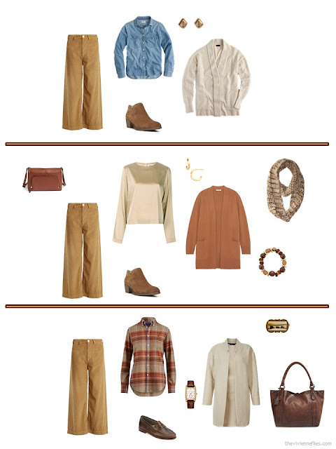 three ways to wear camel corduroy trousers from an autumn travel capsule wardrobe