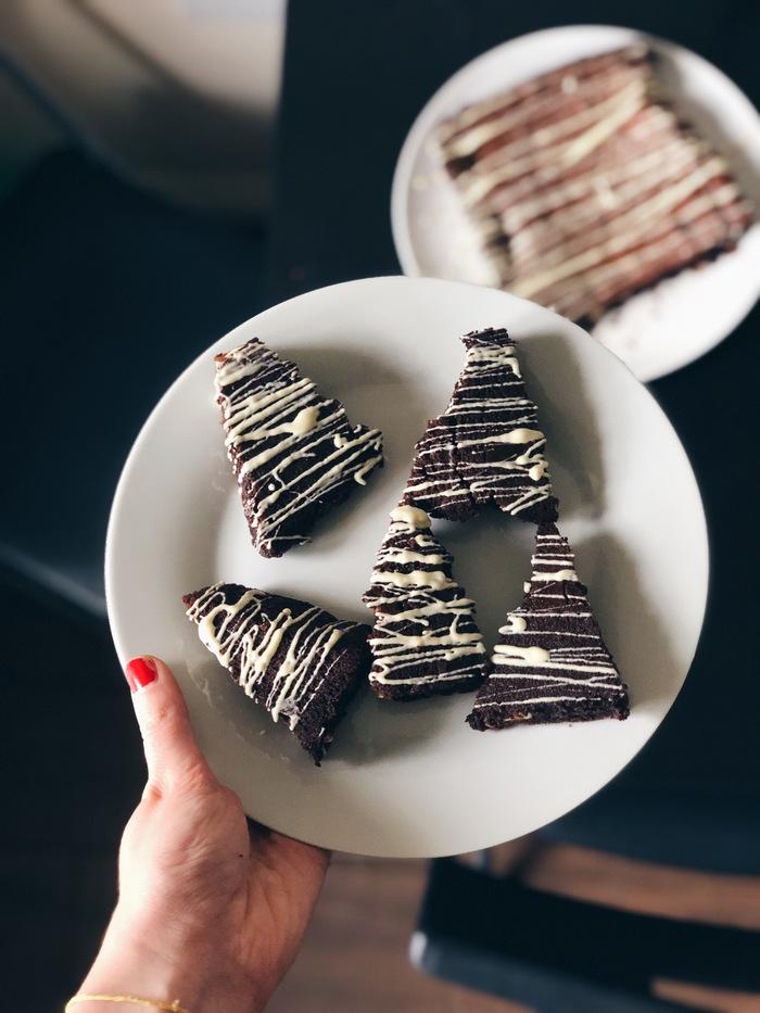 Triple Chocolate Christmas Tree Brownies