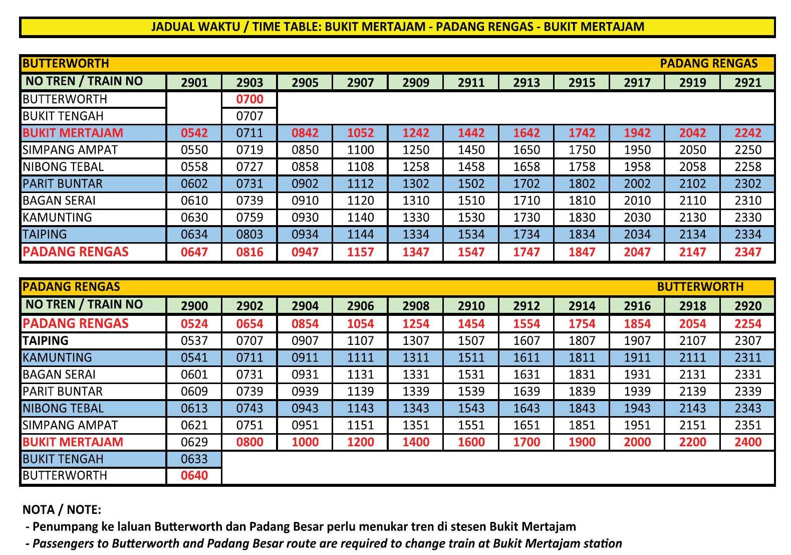 Jadual Perjalanang: Padang Rengas - Bukit Mertajam - Padang Rengas