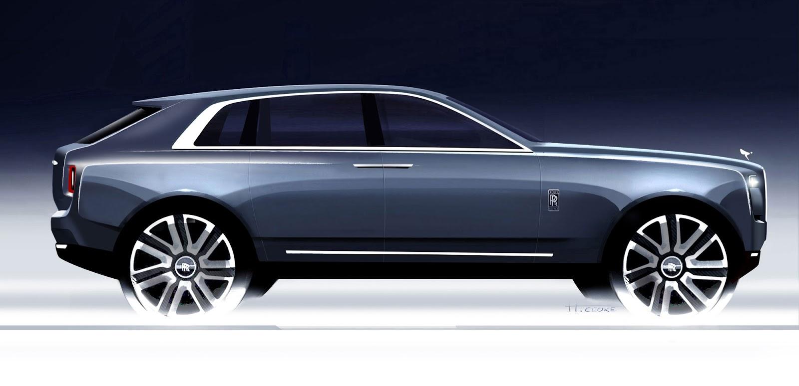 Rolls-Royce Cullinan side view sketch by Henry Cloke
