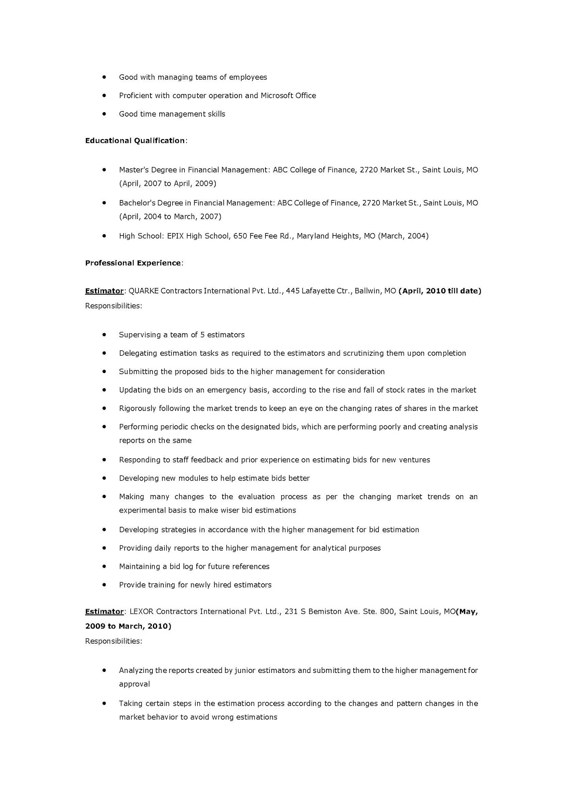 Construction Estimator Resume Examples  EczaSolinfCo