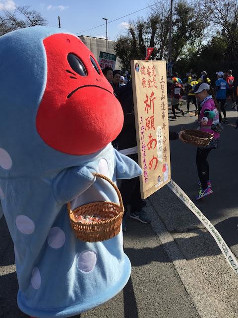 京都マラソン2015沿道応援。仁和寺駐車場トイレ休憩所前にて