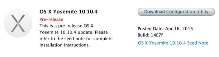 Mac OS X 10.10.4 Yosemite Beta (14E7f)