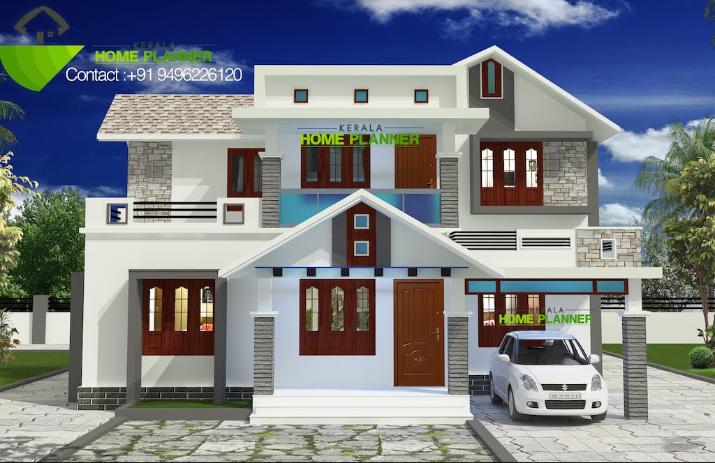 Low Cost Kerala Home Design on front house elevation design