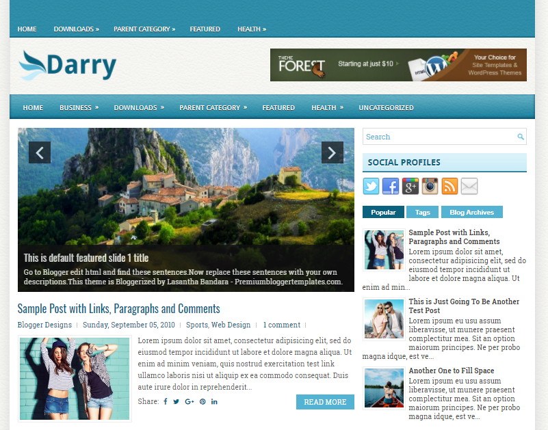 Columns Blogger Template amongst a Right Sidebar in addition to  Free Download Darry Blogger Template