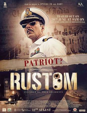 Poster Of Rustom 2016 Hindi 180MB HDRip HEVC Mobile Watch Online Free Download downloadhub.net