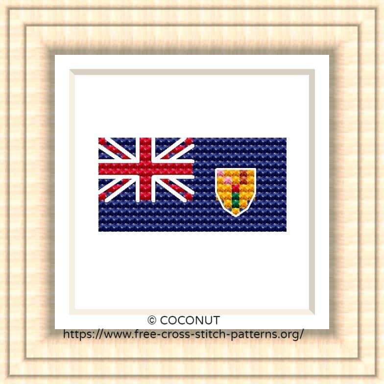 FLAG OF TURKS AND CAICOS ISLANDS CROSS STITCH CHART