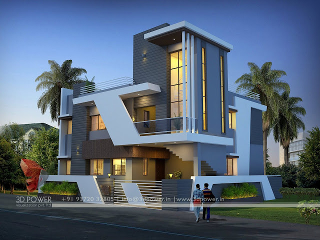 Contemporary bungalow exterior designs post modern for Modern bungalow elevation