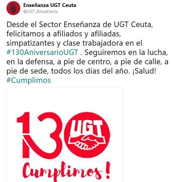 130 Aniversario UGT, UGT, Enseñanza UGT Ceuta