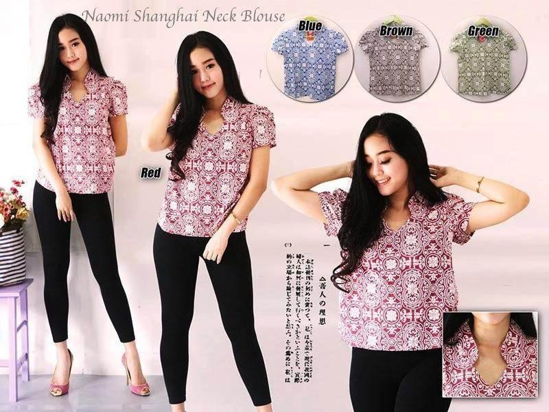 Jual Baju Batik Naomi Shanghai Neck Blouse - 12603