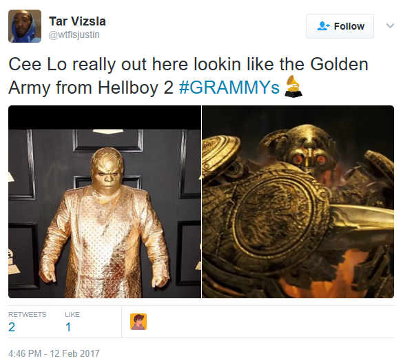 2AAA see the many memes based on cee lo's outfit to the grammys