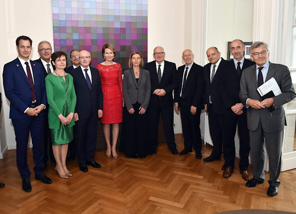 Queen Mathilde attended a working lunch with representatives of leading European Institutions. Queen Mathilde wore Natan Lace dress, gold earrings