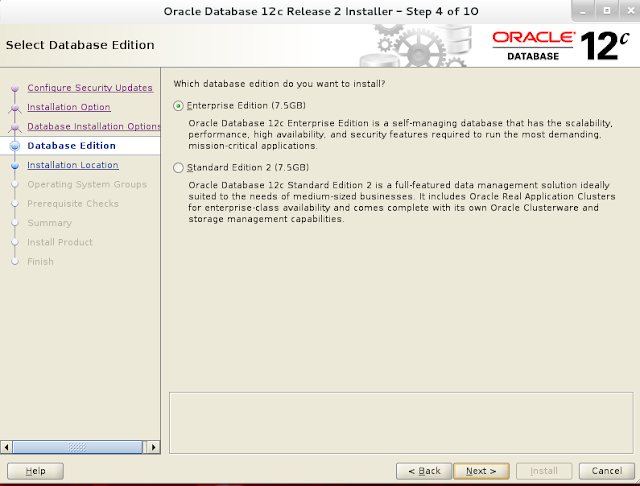 Installing oracle database 12c r2 on Linux wizard screen 4