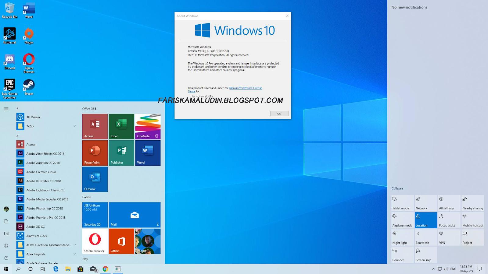 Download ISO Windows 10 1903/19H1 MSDN Original - Faris Kamaludin