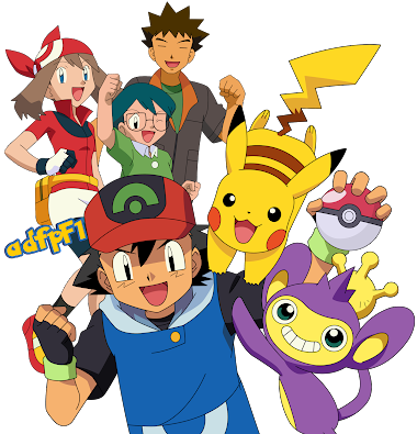 Render ash - may - max - brock - picachu - aipom
