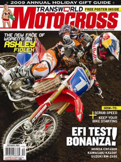 Cover of the Transworld Motocross magazine with the young Deaf Ashley Fiolek