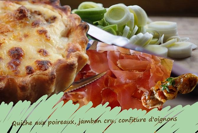 tarte salée aux poireaux, béchamel, jambon cru, oignons marmelade