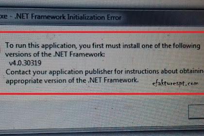 Error Install eSPT PPh 21, NET Framework Initialization Error